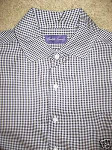 Ralph Lauren Black Label Black Gingham Shirt sz L $25