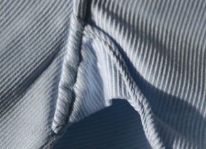 A reinforced gusset in the underarm of a shirt