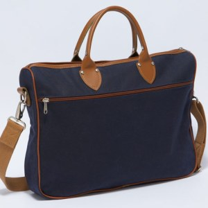 J. Press Leather Trim Attache Bag in Navy