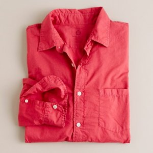 J. Crew Secret Wash Light Weight Point Collar Poplin Shirt in Old Red