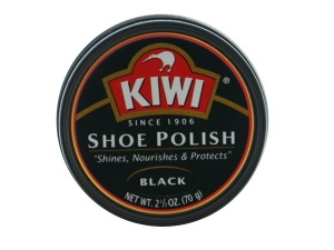 Kiwi Shoe Polish is one of the most commonly used wax polishes. Get it for under $5 in shoe stores.