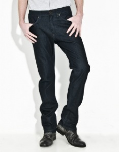Superfine Straight-Leg Dark Jeans