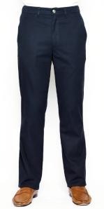 Navy Jones straight leg cotton twill trousers