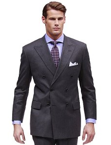 Brooks Brothers Grey Double-Breasted Suit