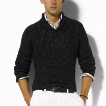 Ralph Lauren Shawl Cable-Knit Sweater