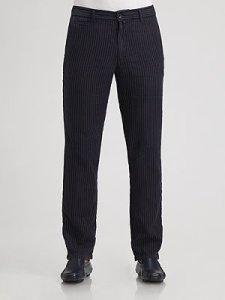 Zegna Sport Black Pinstriped Pants