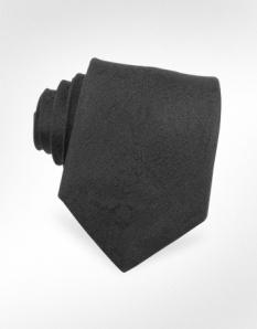 Roberto Cavalli Narrow Black Silk Tie
