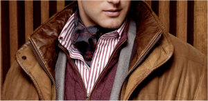 Take note: simple color scheme of burgundy, brown, and grey, yet awesome use of patterns that operate within that muted color scheme: bold bengal stripe shirt and deep paisley ascot.
