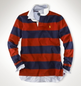 Ralph Lauren Blue and Red Striped Rugby