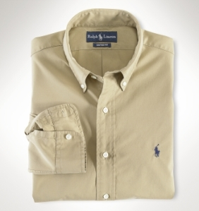 Ralph Lauren Slim Fit Solid Poplin Shirt in Khaki